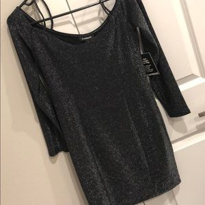 Express Shimmer dress off the shoulder